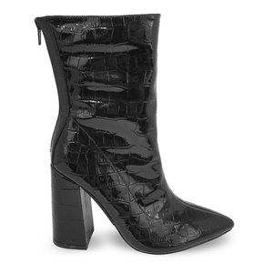 Women's Crocodile Patent Pointy Toe Chunky Boots